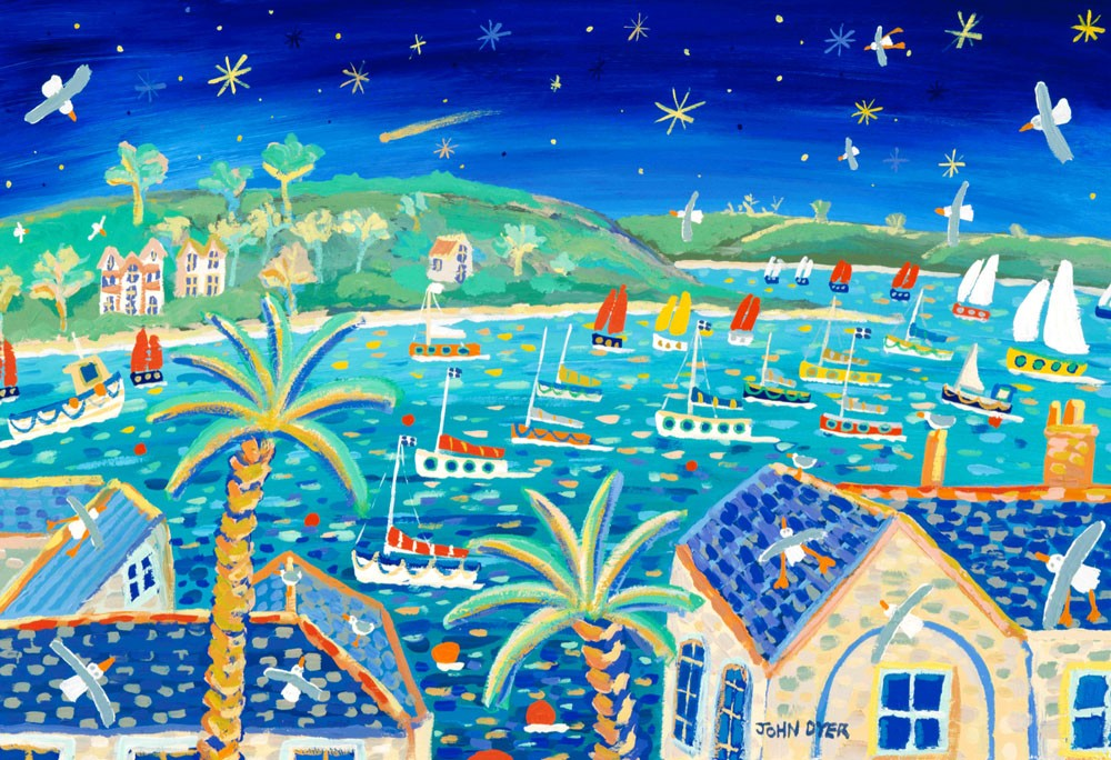 Signed Print by Cornish Artist John Dyer. Sailing Beneath the Comet. Hale Bopp Comet. Falmouth.