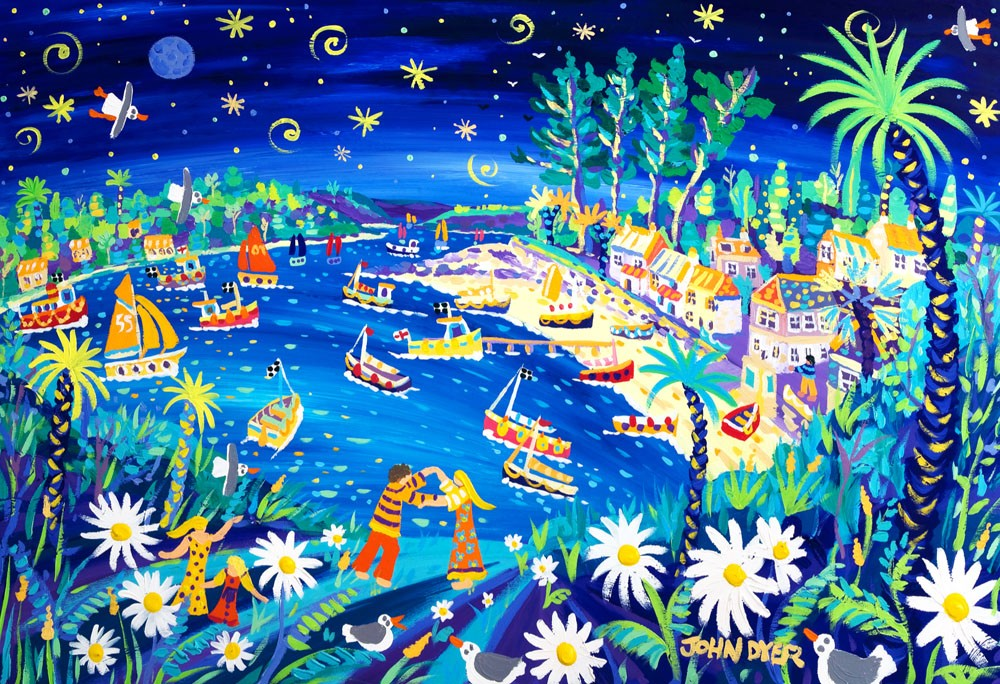 Moon Dance, Helford Passage, Cornwall. Limited Edition Print by John Dyer