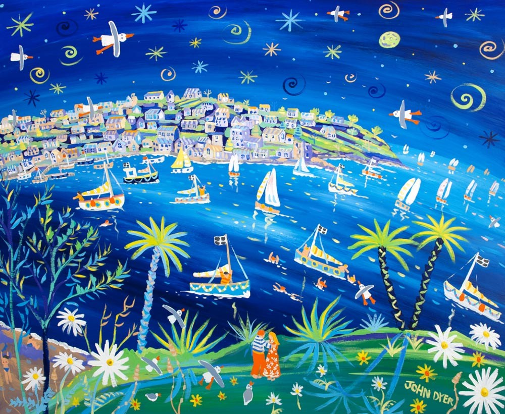 Signed Limited Edition Print by Cornish Artist John Dyer. Moonlight and Love Fowey.