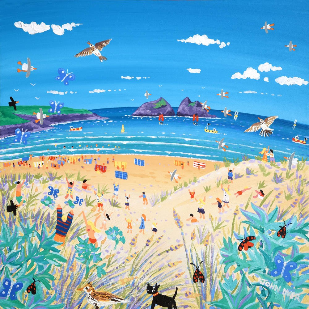 Limited Edition Print by Cornish Artist John Dyer. Sea Holly and Skylarks, Holywell Bay, Cornwall.