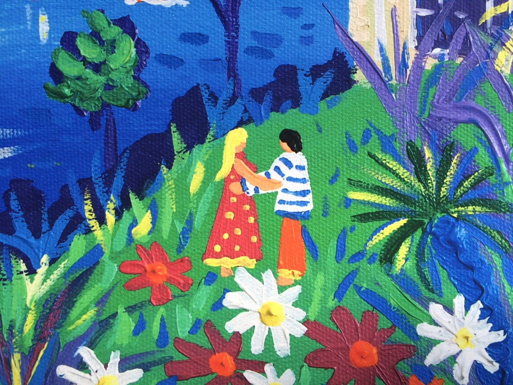 Limited Edition Print by Cornish Artist John Dyer. Holiday Hugs, Fowey.
