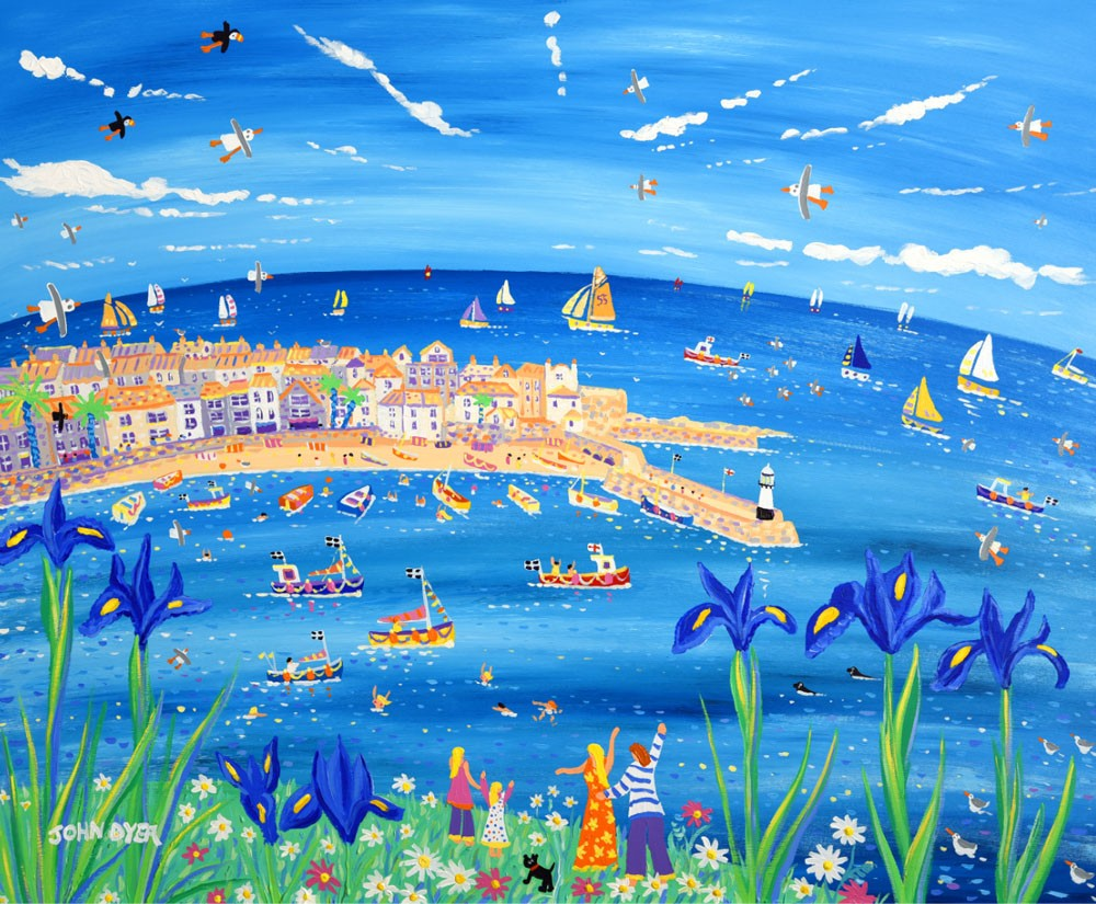 Signed Limited Edition Print by John Dyer. Iris Blue, St Ives.