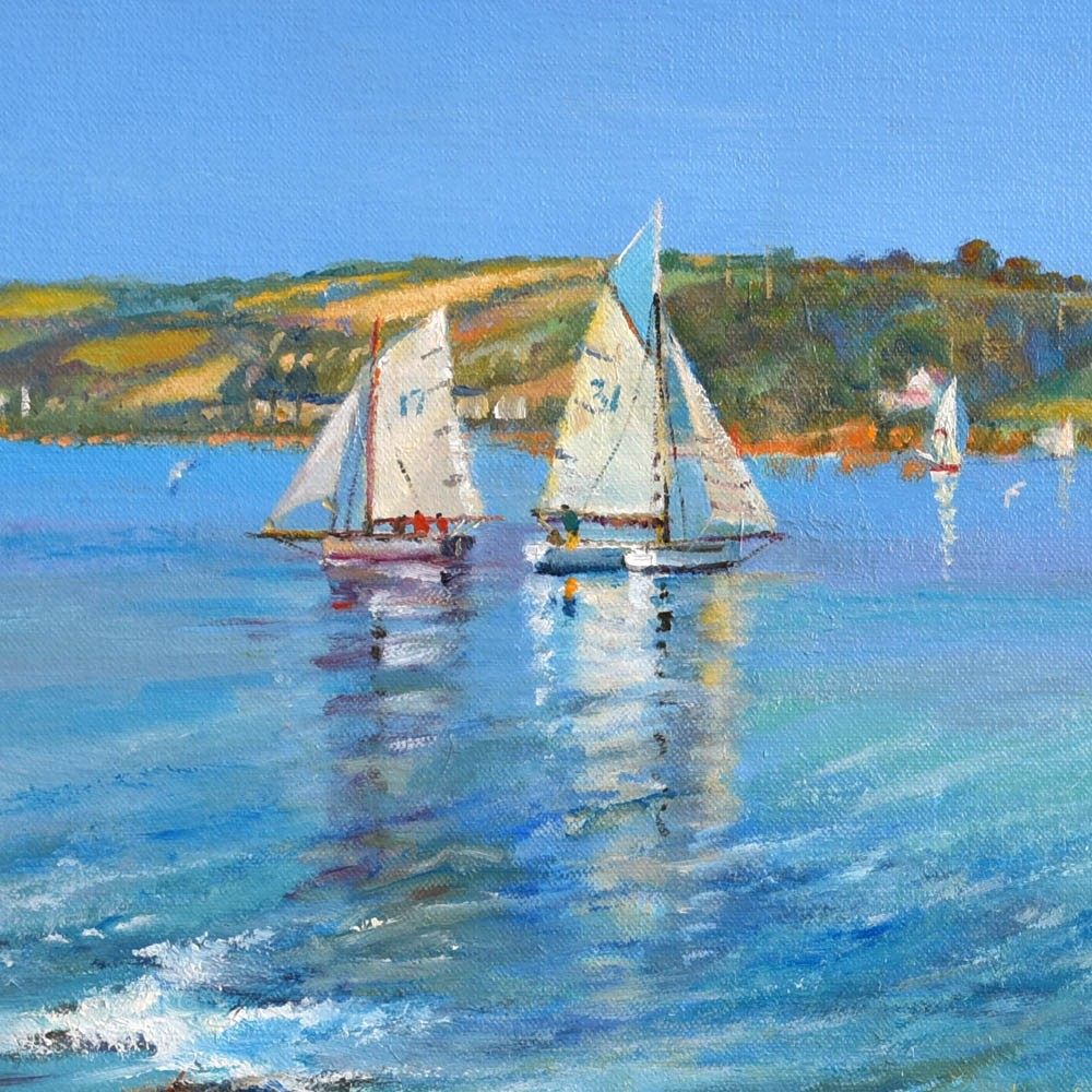 Original Oil Painting on Canvas. Time for a Treat. Pendennis Point.  By British Artist Ted Dyer.