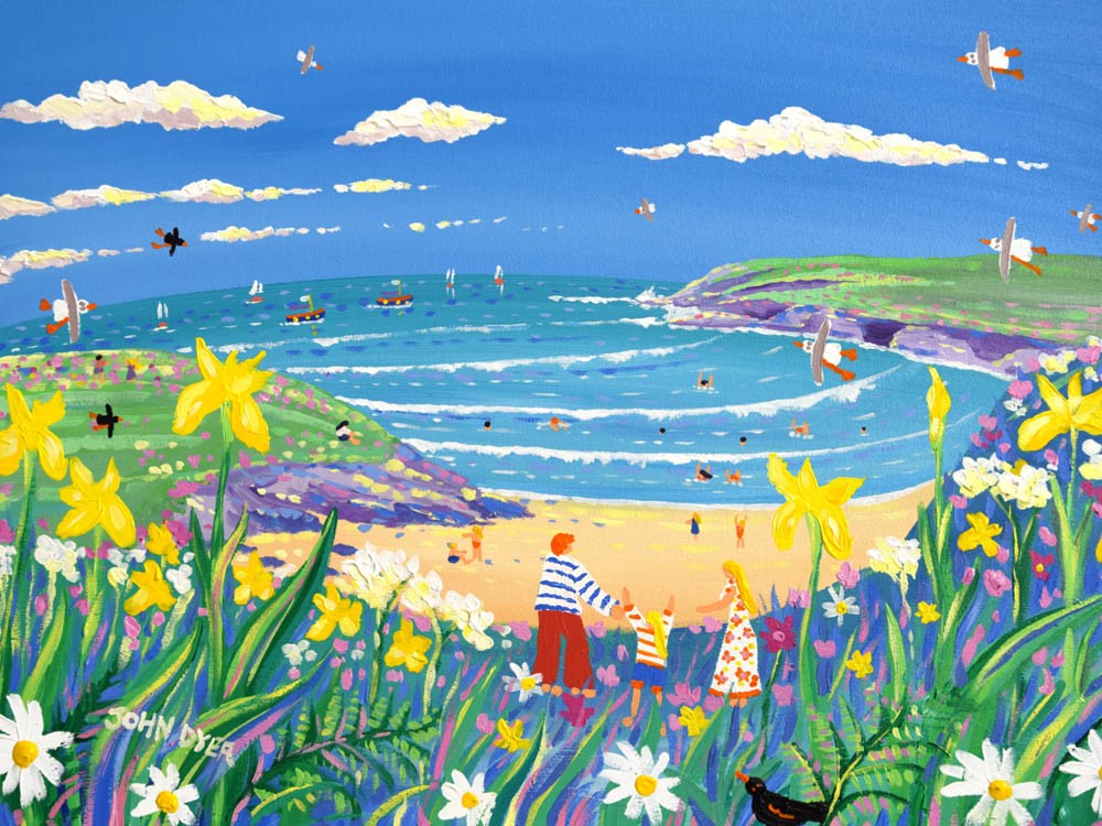 Signed Limited Edition Print by Cornish Artist John Dyer. Walking to the Beach, Polly Joke.