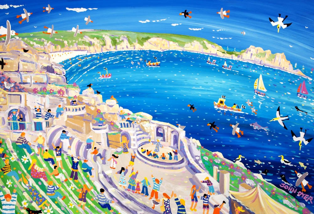 Art print of the Minack theatre in Cornwall by artist John Dyer.