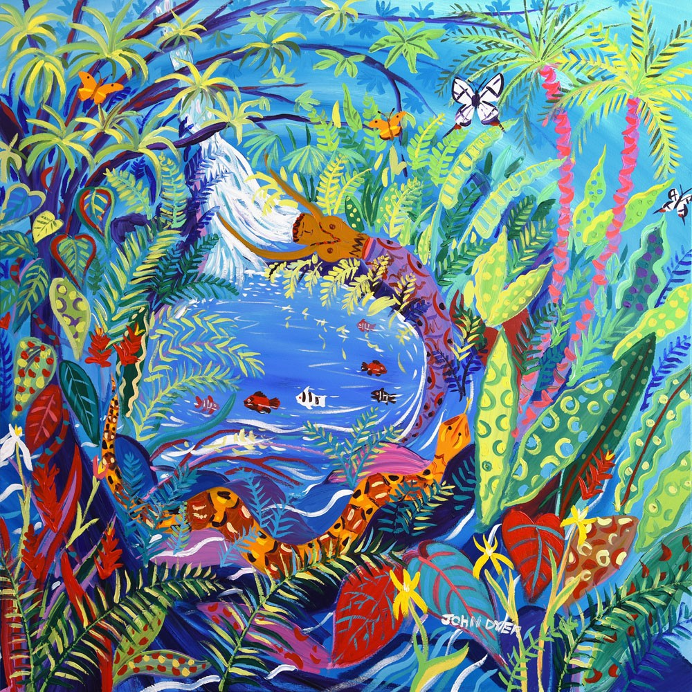 Original Painting by John Dyer. Yuxi Yuve Amazon Rainforest Water Spirit. Painting inspired by the Yawanawá Tribe.