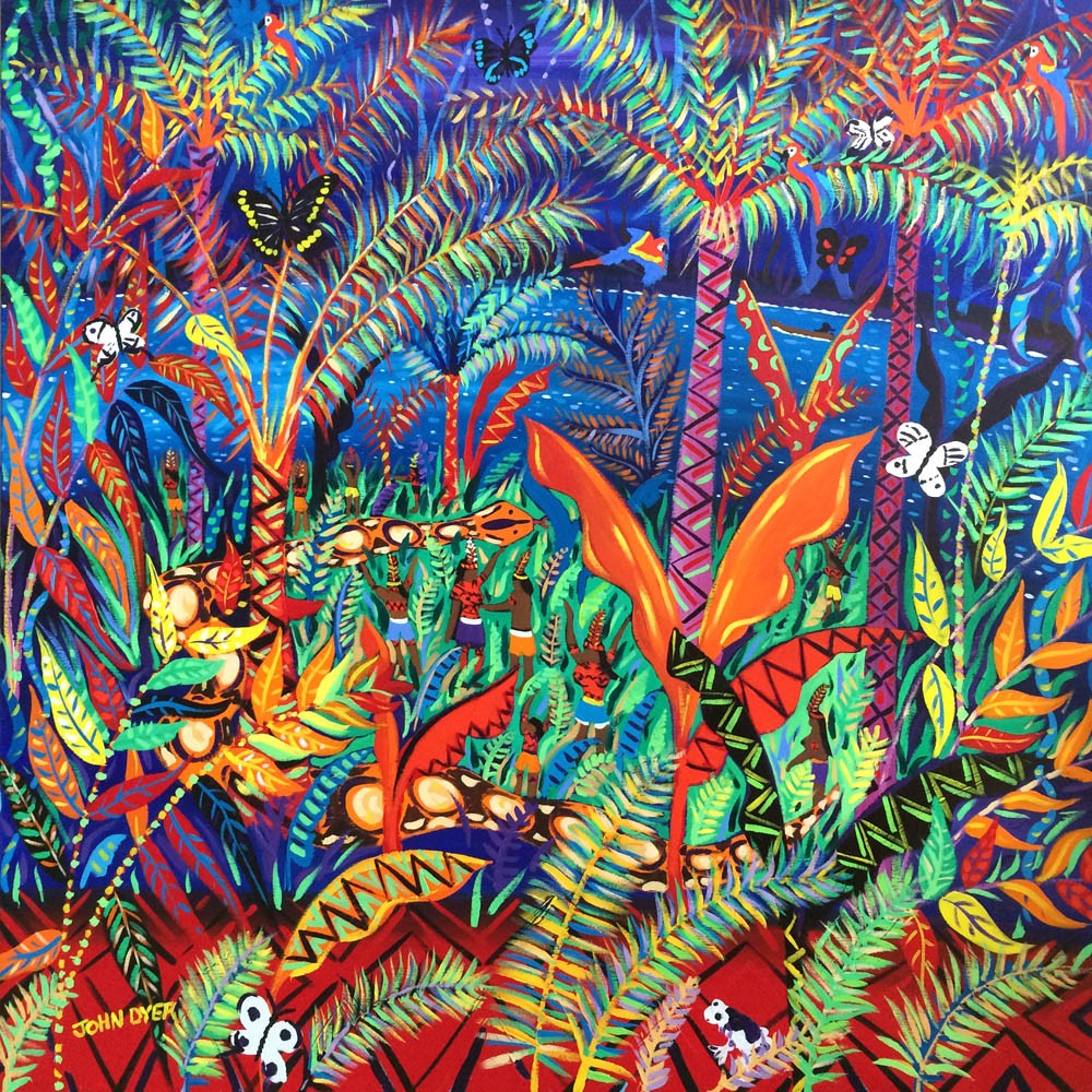 Painting inspired by the Yawanawá Tribe. Amazon Rainforest. Original Painting by John Dyer. Kênê - At one with Nature.
