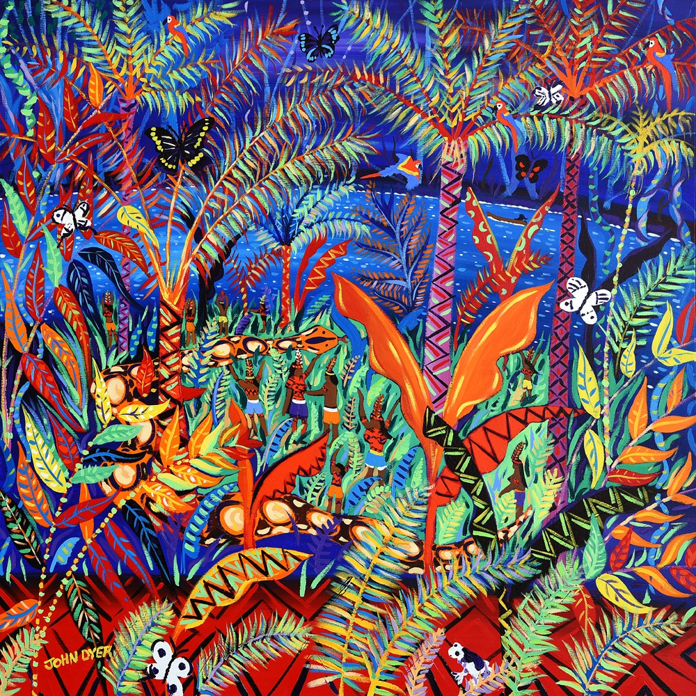 Limited print by artist John Dyer. Kênê. At one with Nature. Amazon Rainforest.