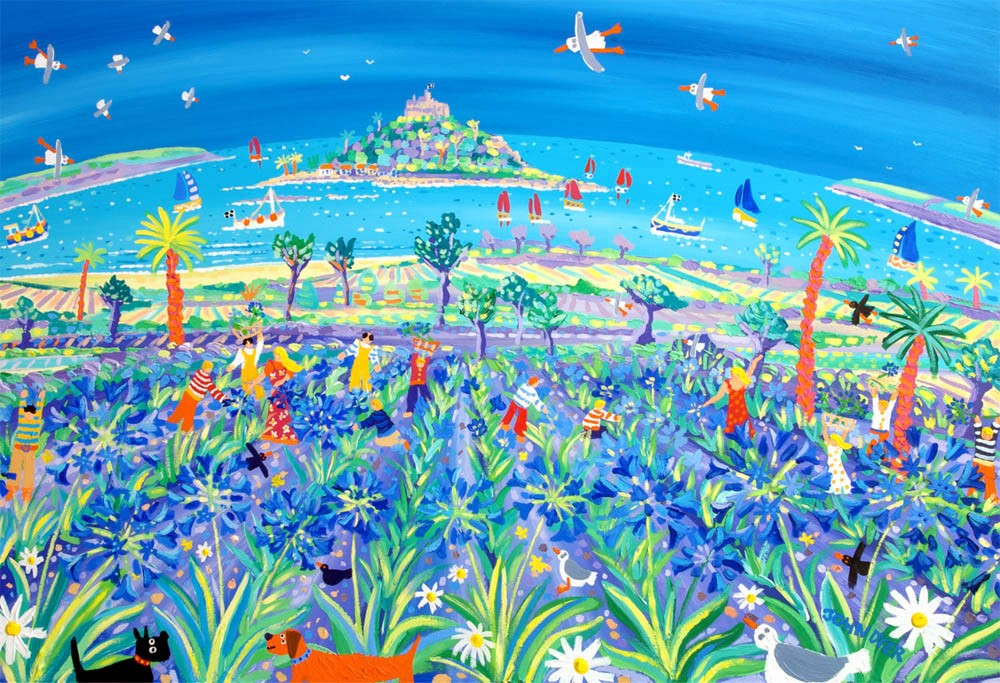 Limited Edition Print by Cornish Artist John Dyer. Picking the Agapanthus Mount's Bay.