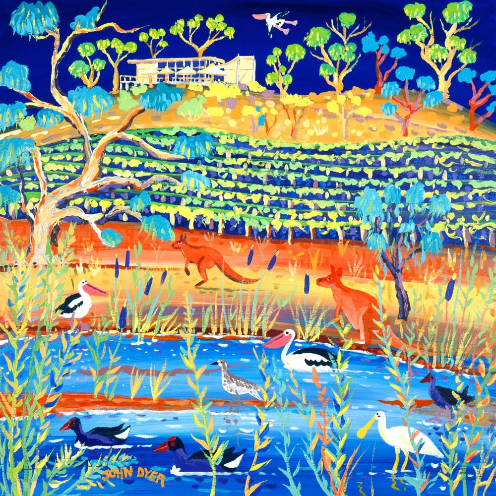 Kangaroos and pelicans and spoon bill at Banrock Station in the Australian outback. John Dyer print.