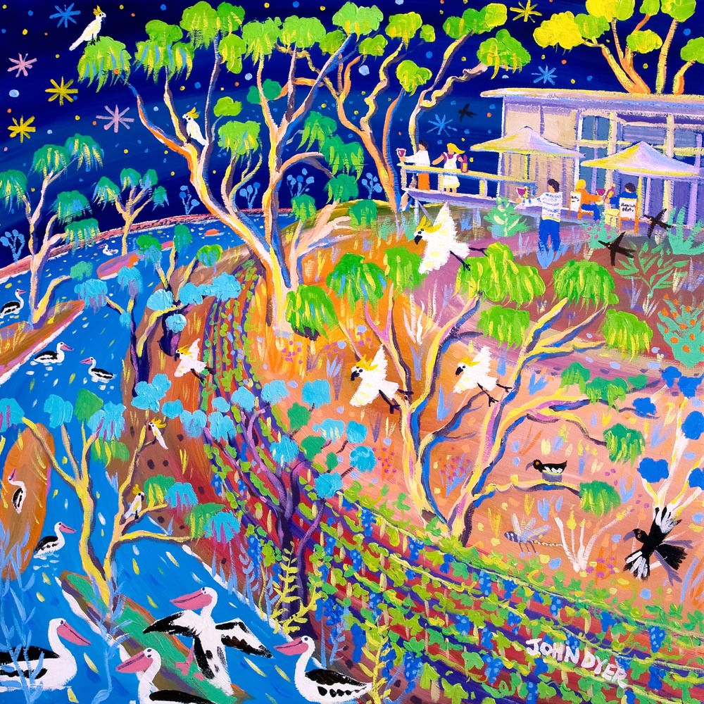 Limited Edition Print by John Dyer. Blue Skies and Blazing Stars. Banrock Station Wine Australia.