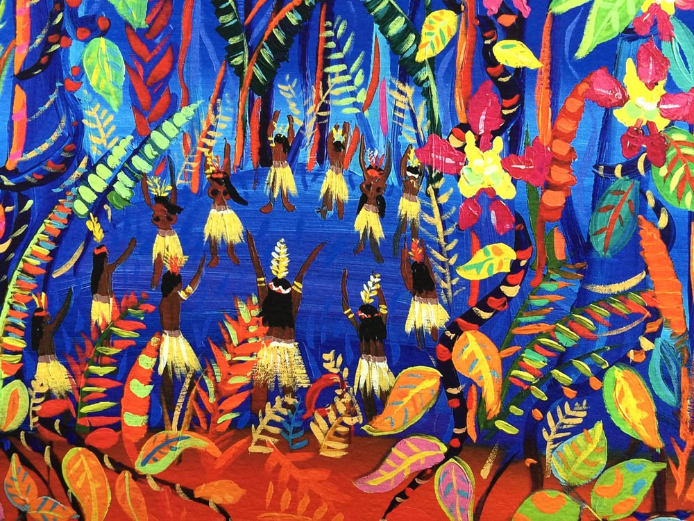 Limited Print by artist John Dyer. The Creation of Ayahuasca in the Amazon Rainforest.