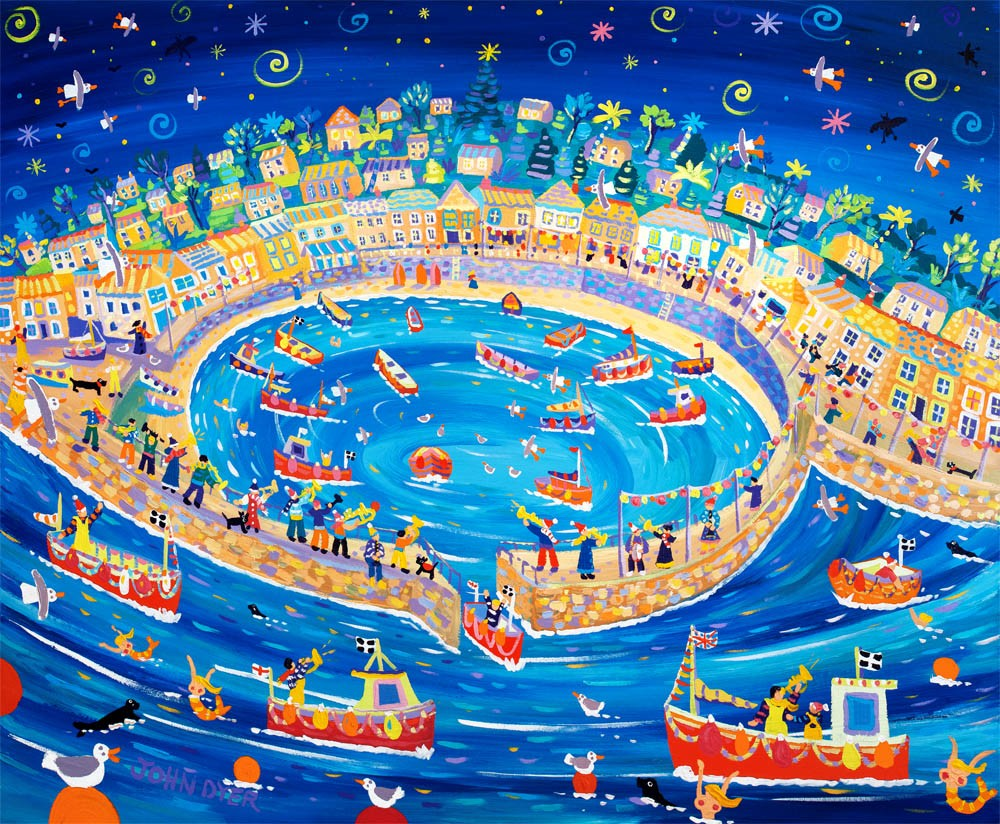 John Dyer Limited Edition Print. Musical Mousehole. Cornwall