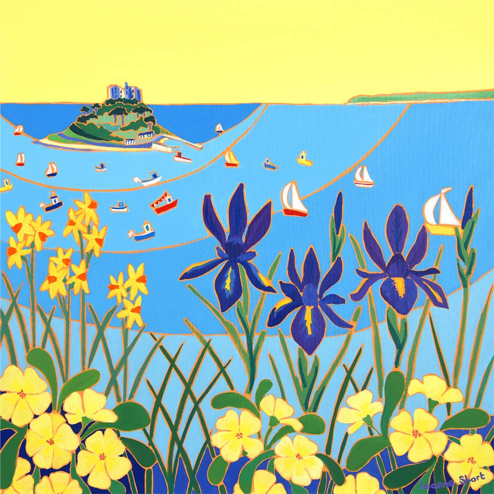Signed Limited Edition Print by Joanne Short. Spring Flowers on a Calm Day, St Michael's Mount.