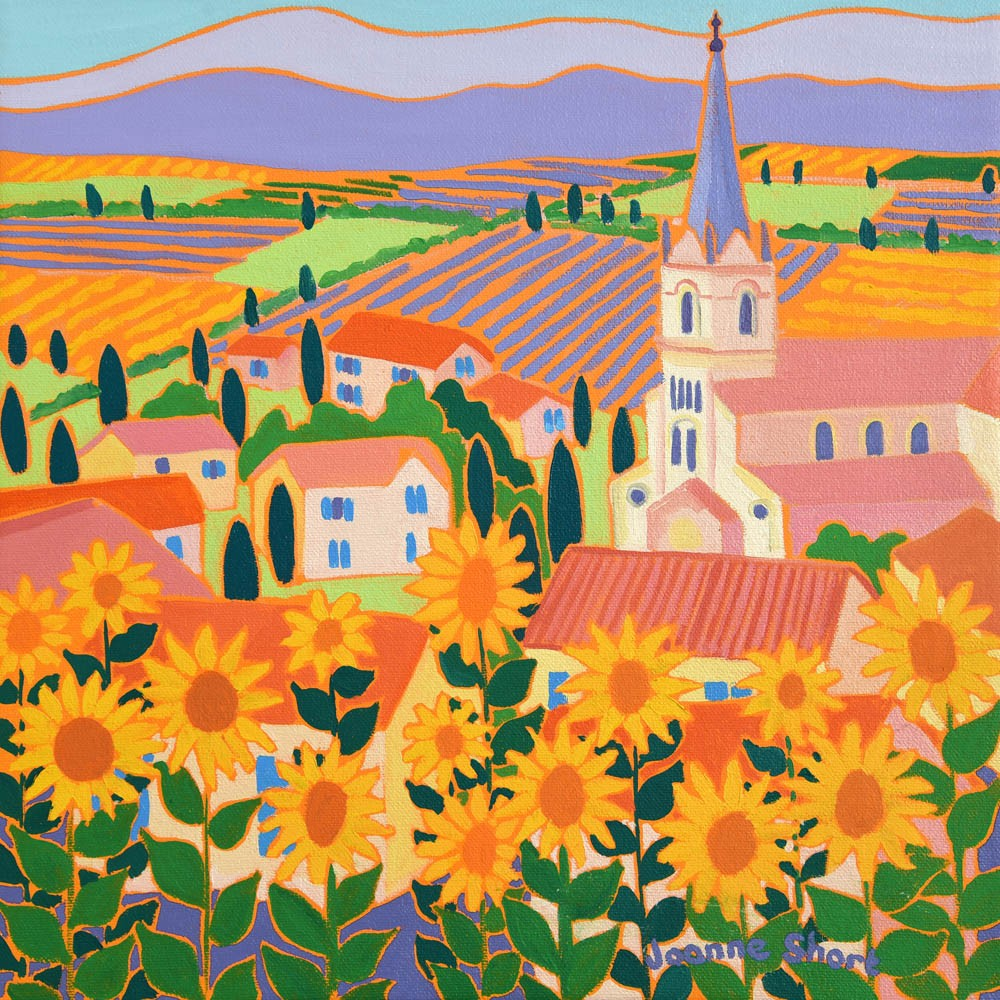 Original painting by Joanne Short. View through the Sunflowers, Bonnieux, Provence.