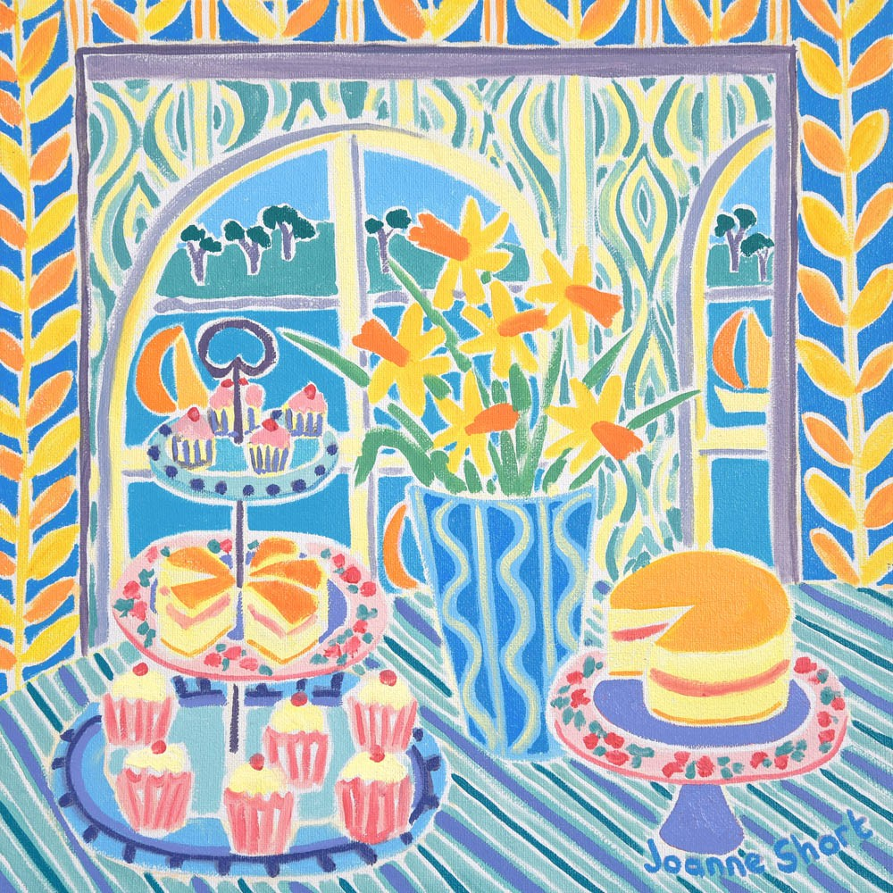Original still life painting by Joanne Short. Cakes on Plates, Falmouth.