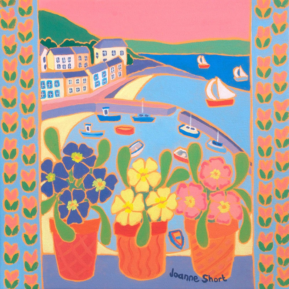 Original Oil Painting by Joanne Short. Primroses in the Window, Mousehole.