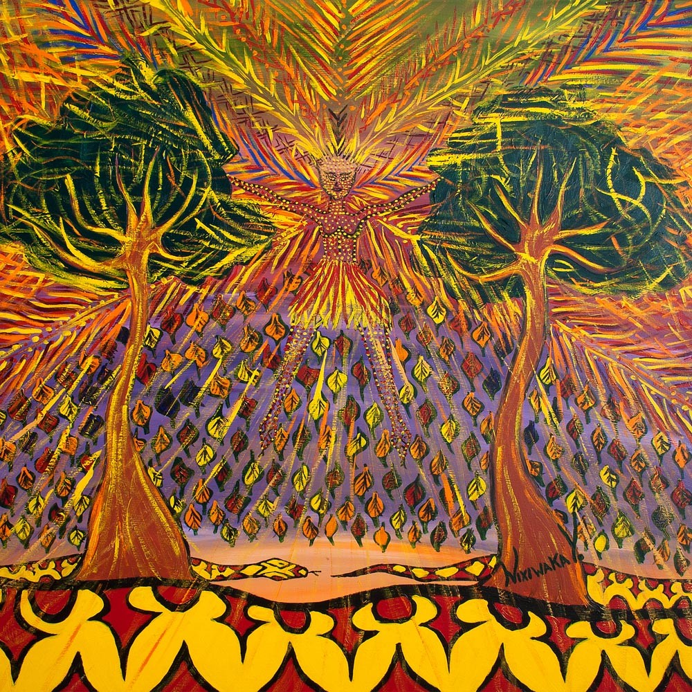 Nixiwaka Yawanawá Painting. Vana - The Spirit of our Shadows. Amazon Rainforest Spirit.