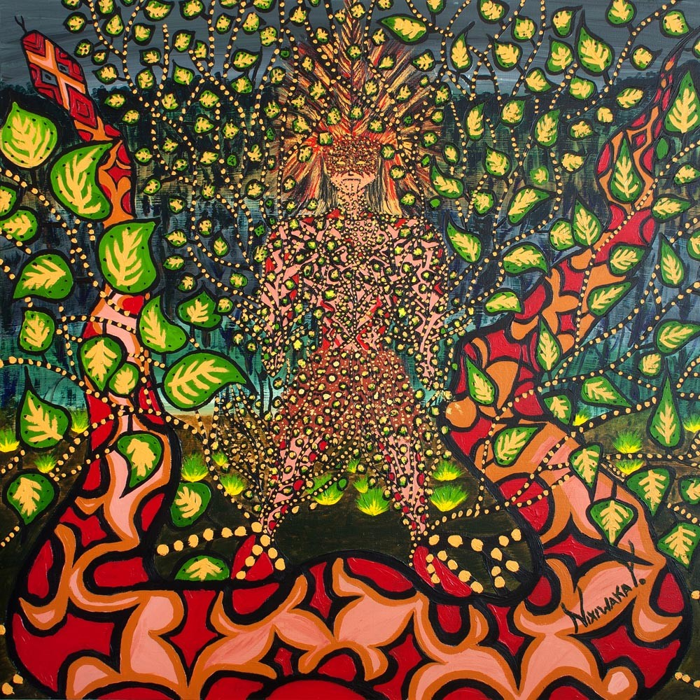 Nixiwaka Yawanawá Painting. Creation of Uni (Ayahuasca) Amazon Rainforest