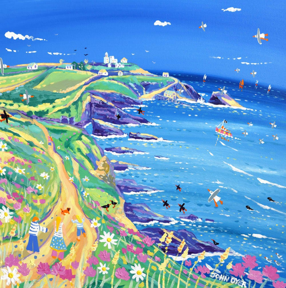 The Lizard lighthouse and coast path painted by Cornish artist John Dyer. This limited edition print of the painting has blue sky and sea, choughs, seagulls and seals.