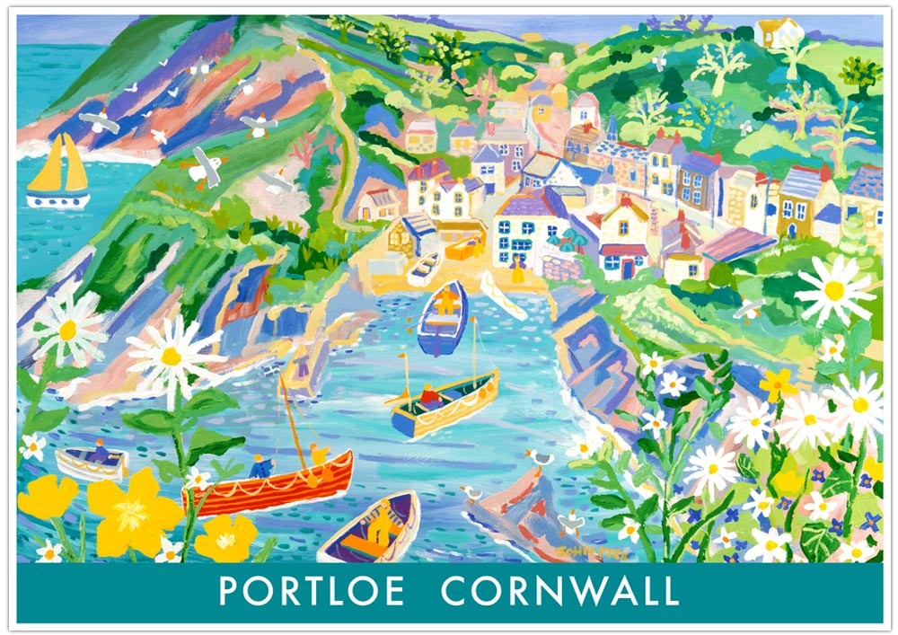 Vintage Style Seaside Travel Poster by John Dyer. Portloe Cornwall