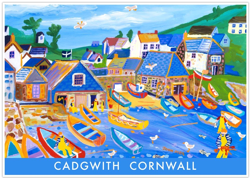 Vintage Style Seaside Travel Poster by John Dyer. Cadgwith Cornwall