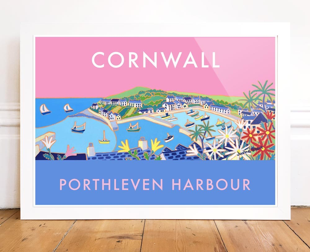 Vintage Style Seaside Travel Poster by Joanne Short of Porthleven Harbour in Cornwall