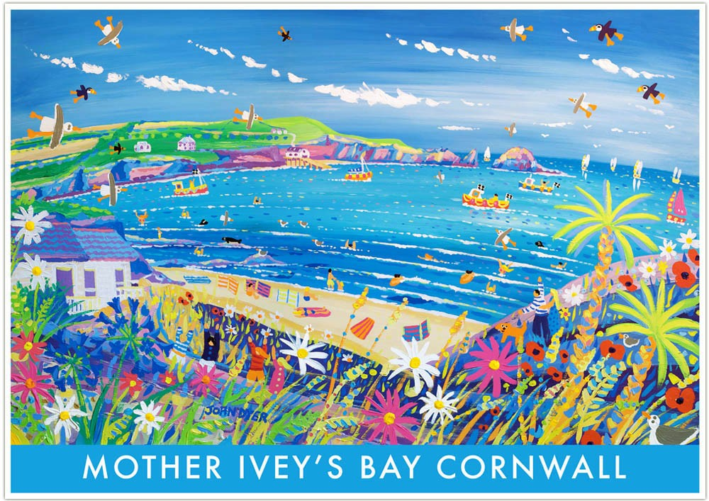 Vintage Style Seaside Travel Poster by John Dyer. Mother Ivey's Bay Cornwall