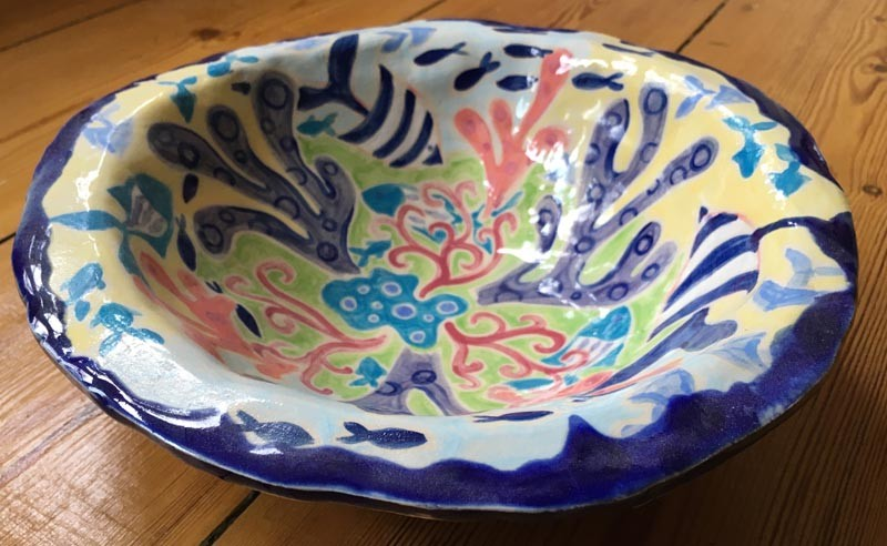 Seaweed and Cornish Fish ceramic bowl from artist Joanne Short