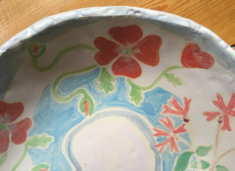 Joanne Short Ceramic Bowl Cornish Poppies and Campion flowers