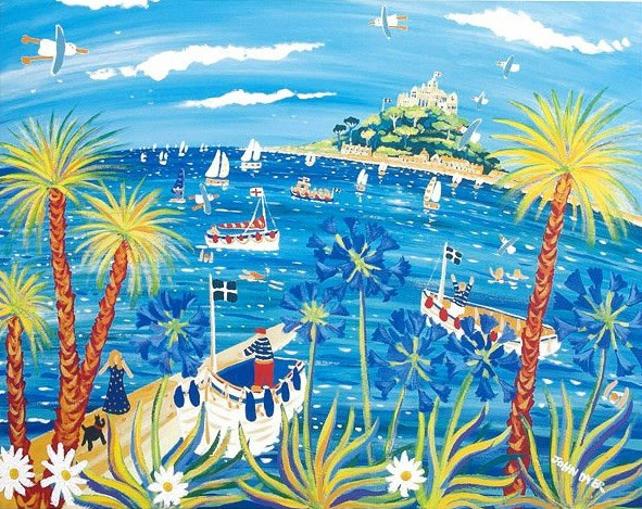 Calm Seas and Palm Trees, St Michael's Mount. Limited Edition Print by John Dyer