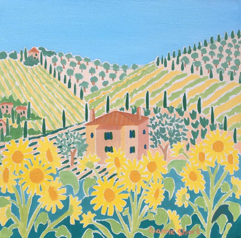 Original Painting by Joanne Short. House in the Sunflowers, Italy.
