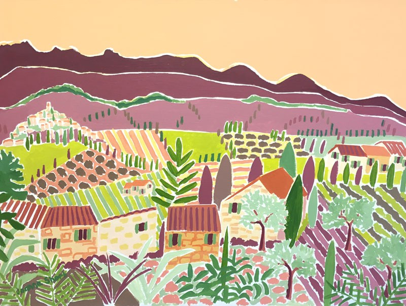 Original Painting by Joanne Short. Evening Light across the Valley, Rasteau. Provence, France.