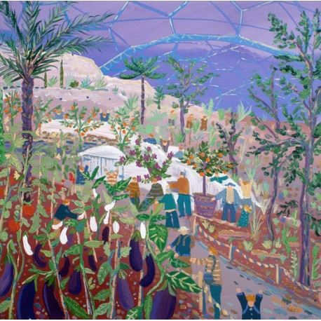Original Painting by John Dyer. Aubergine Blues. The Eden Project.