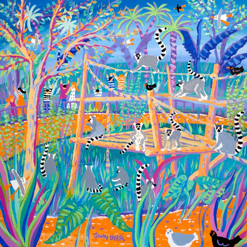 Original Painting. Huggable Loveable Lemurs. Newquay Zoo. Darwin 200 Official Painting by artist in residence John Dyer.