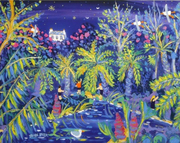 Jungle garden at Heligan at night. Art print by John Dyer