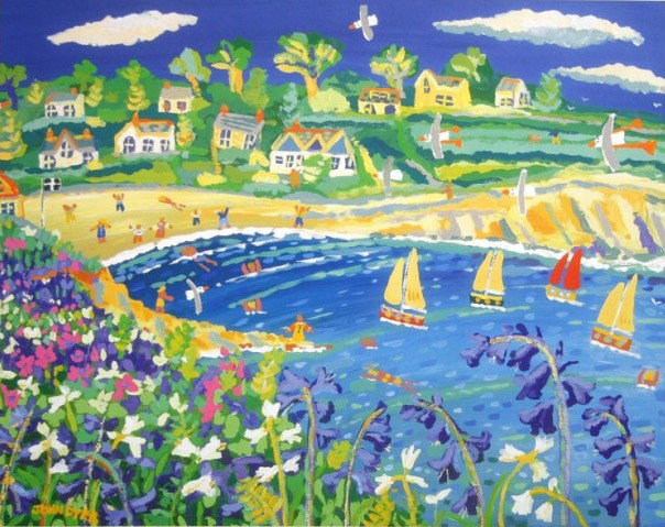 Limited Edition Print by John Dyer. Bluebells and Campion, Swanpool, Falmouth, Cornwall.