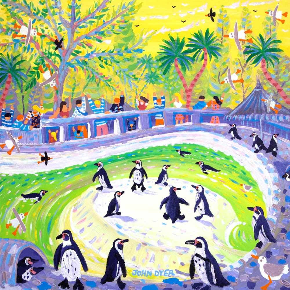 Signed Print by John Dyer. Peckish Penguins at Newquay Zoo.