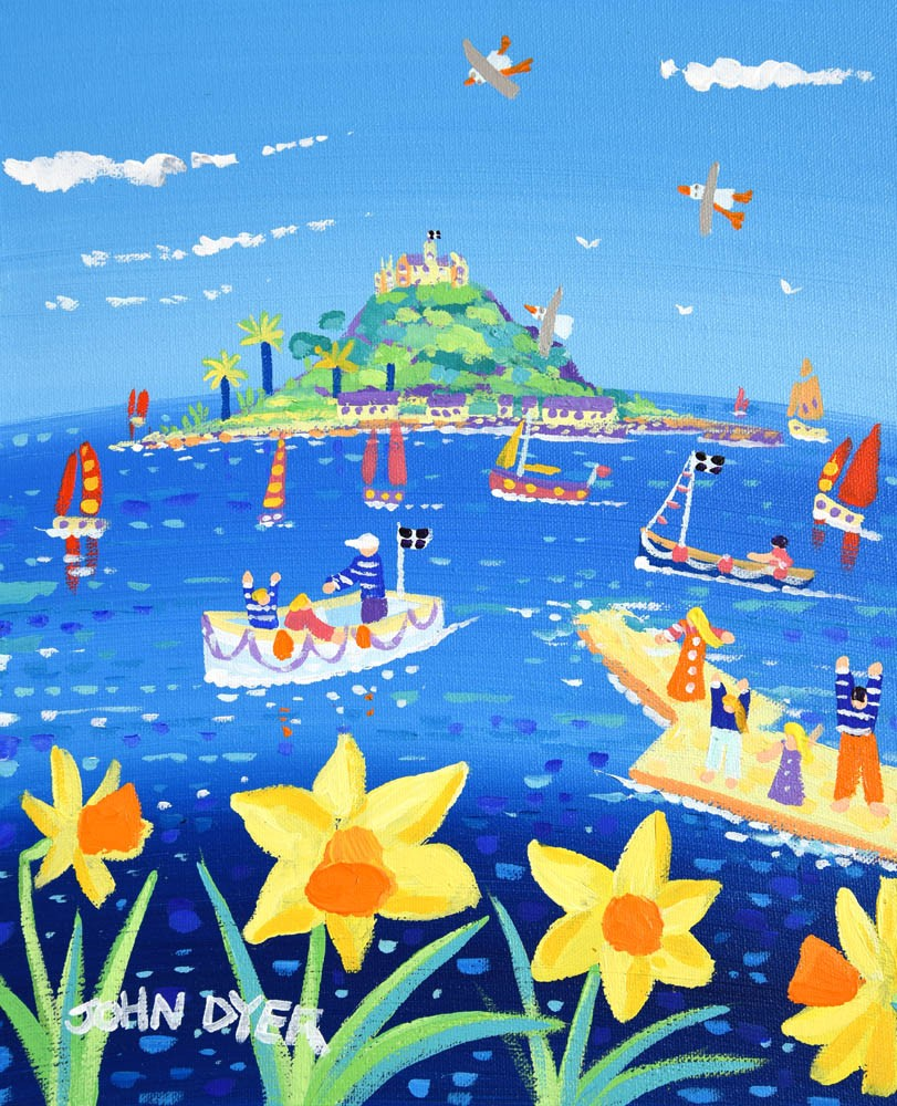 John Dyer Painting. A Perfect Spring Day, St Michael's Mount, Cornwall. Daffodils