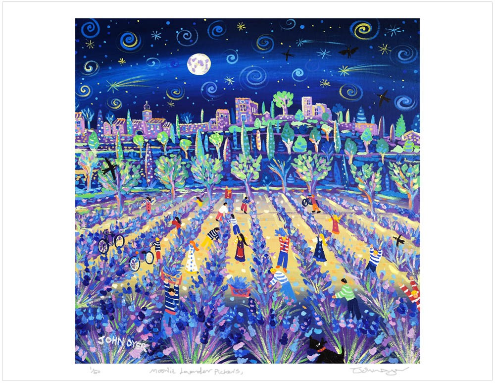 Limited Edition Print by John Dyer. Moonlit Lavender Pickers, Ménerbes, Provence