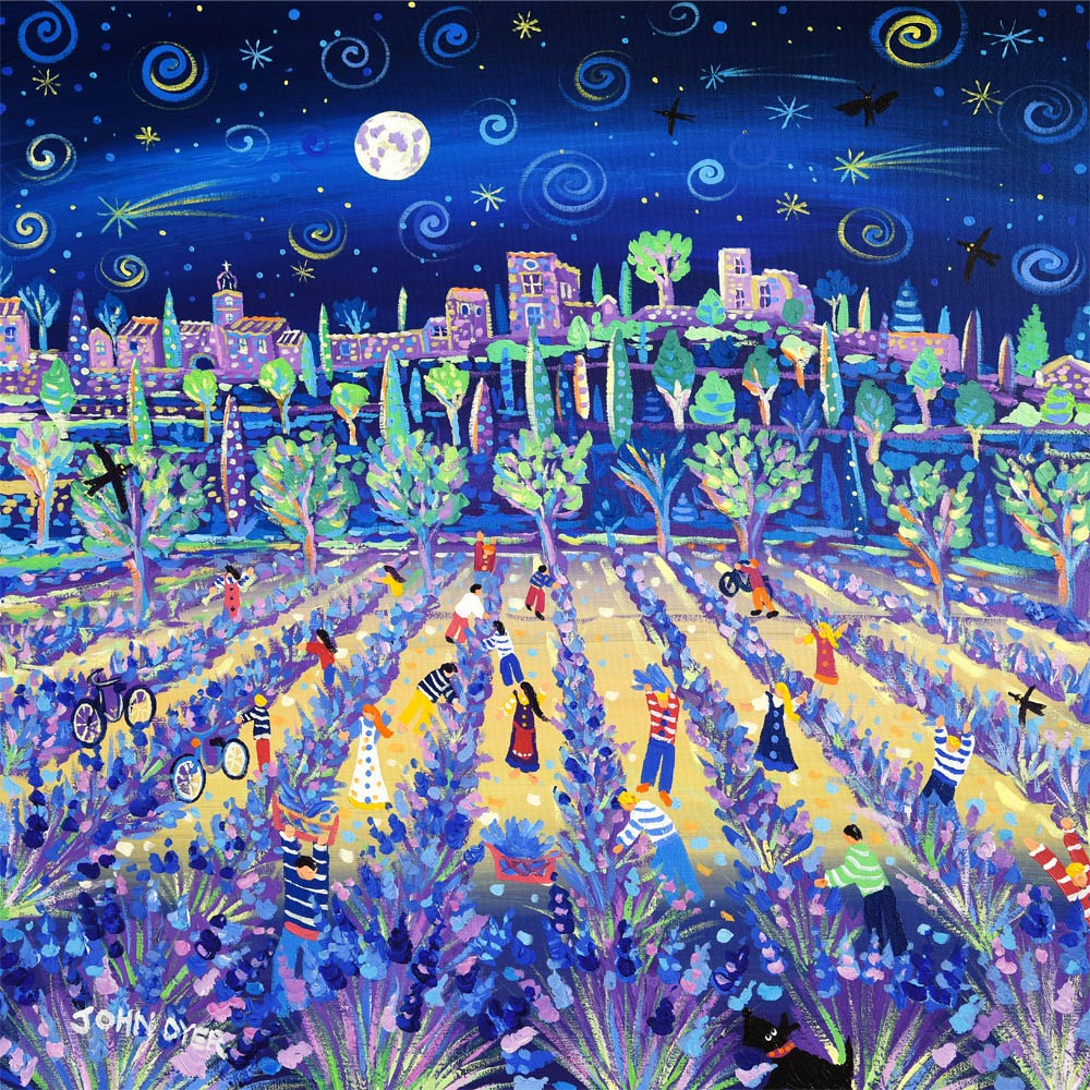 Moonlit Lavender Pickers, Provence, France. Signed print by artist John Dyer