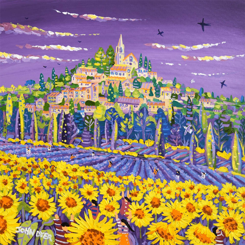 Bonnieux, Provence limited edition signed print by artist John Dyer. Fields of sunflowers.