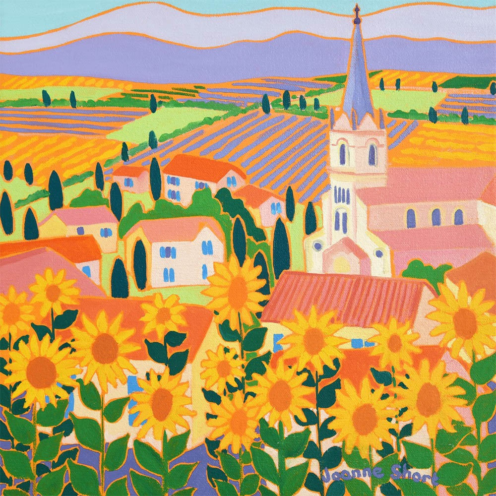 Limited Edition Print by Joanne Short. View through the Sunflowers, Bonnieux, Provence