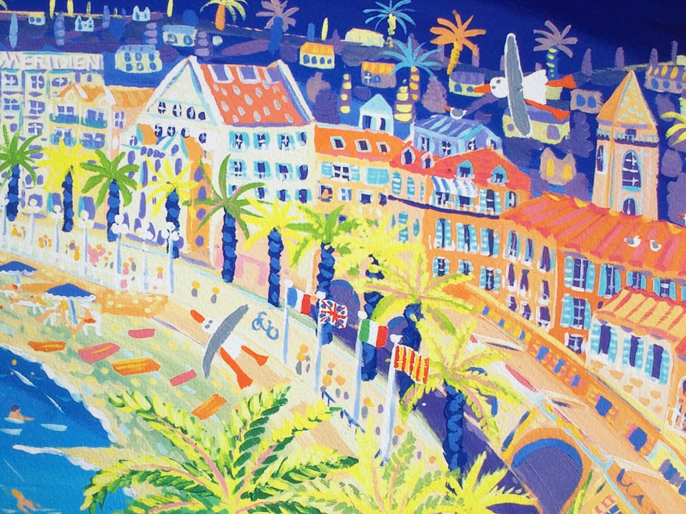 Signed Print by John Dyer. French Kiss, Nice. Côte d'Azur, France