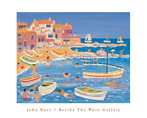 Beside the wave gallery - John Dyer art poster of Calella in Span
