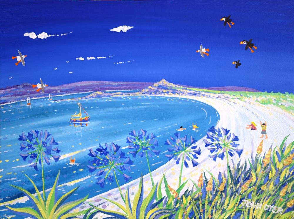 Signed Limited Edition Print by Cornish Artist John Dyer. Blue Sky, Pentle Bay, Tresco
