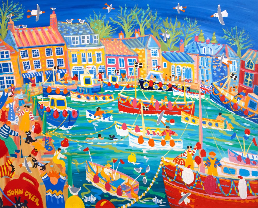 Signed Limited Edition Print by artist John Dyer. Padstow Paradise, Cornwall.