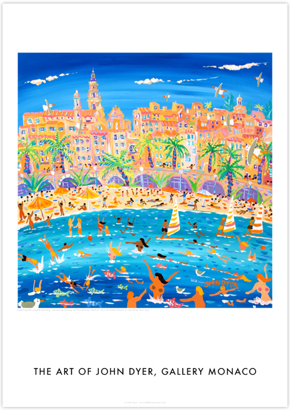 John Dyer Art Poster Print. Gallery Monaco Range. Swimming, Sailing and Snorkelling, Menton, France