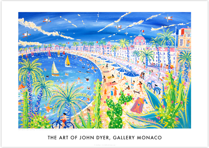 Promenade des Anglais in the city of Nice painted by artist John Dyer. Art poster print. bikes, topless sunbathers, sausage dogs, boats, Negresco hotel