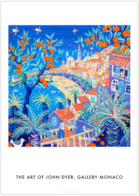 View to the old town of Menton through orange trees. A couple hug on the terrace. Art poster by John Dyer